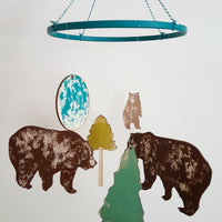 Bear Hand Printed Laser Cut Mobile