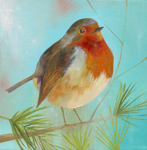 Robin on Pale Blue Greetings Card