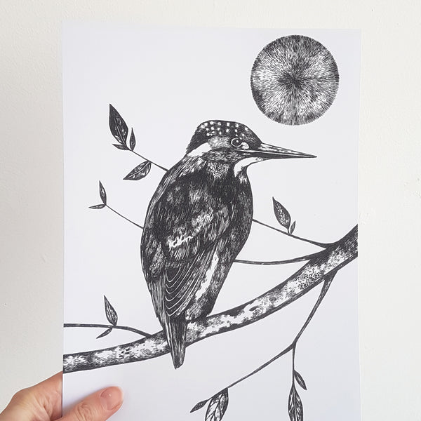 Digital Kingfisher and Moon Print