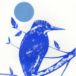 Kingfisher, Branch and Moon Screenprint