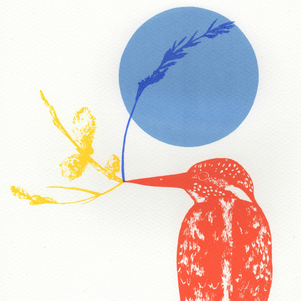 Kingfisher and Yellow Branch Screen Print