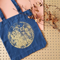 Handprinted Gold Moon Bag