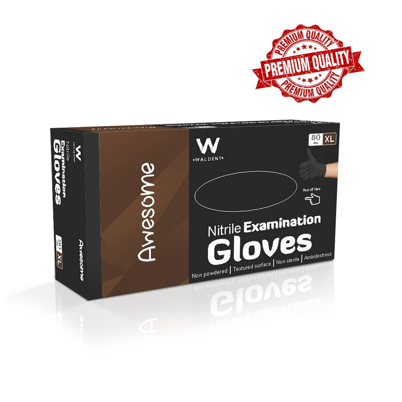 Waldent Nitrile Examination Gloves- Black