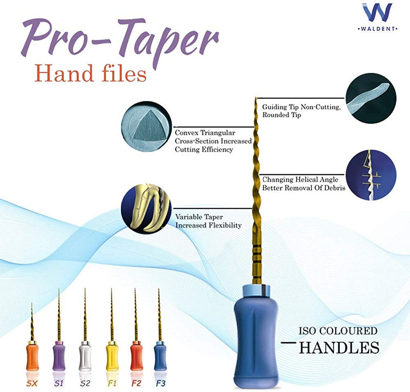 Waldent Pro-Taper Hand File 21mm Assorted SX-F3 (Gold)