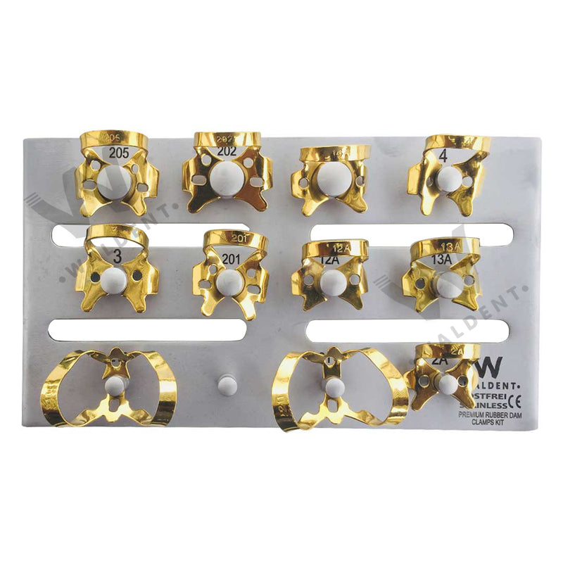 Waldent Rubber Dam Clamps Kit Titanium Gold (set of 11)