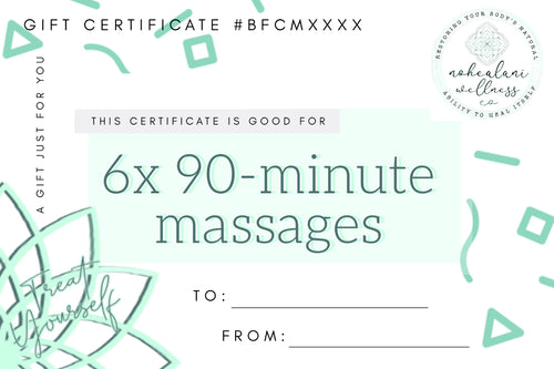 6x 90-minute massage (BFCM Save $108, Biggest Savings!)