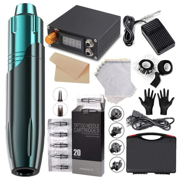 10 PCS Tattoo Machine Kit, Tattoo Pen, Transfer Paper, Practice Paper, LED Power Supply, Tattoo Gloves, Needle