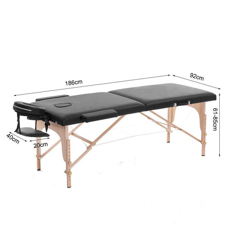 portable 2 section massage table bed wooden base fold tattoo bed