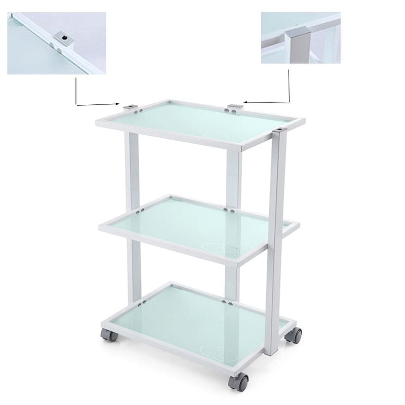 glass top beauty facial trolley white