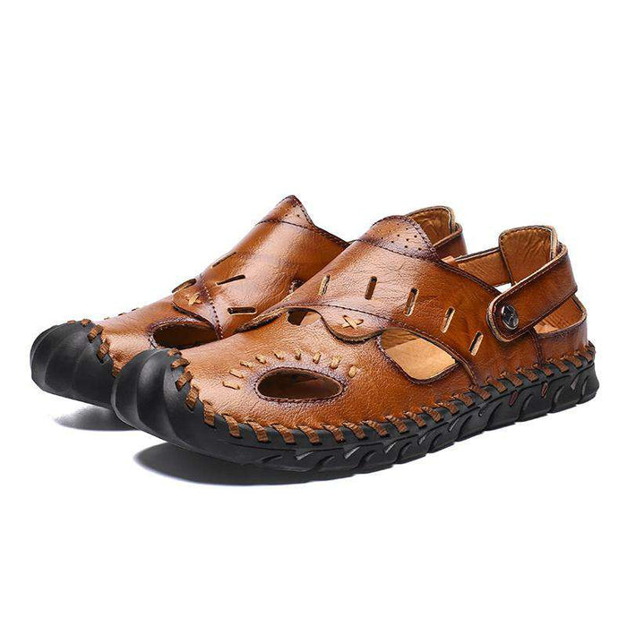 Cowhide Hand Stitching Casual Soft Sandals