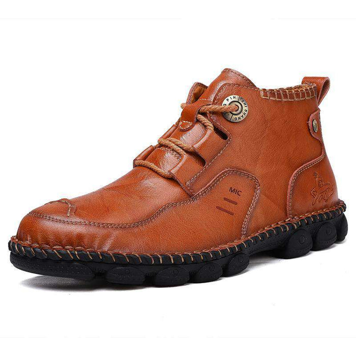 Konhill Men's Soft Cowhide Casual Boots