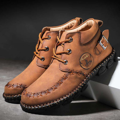 Men's Metal Buckle Casual Leather Boots