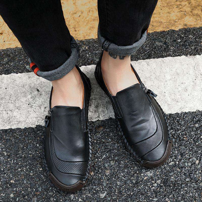 Soft Hand Stitching Side Zipper Oxfords