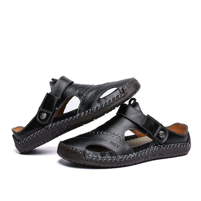 Men's Hand Stitching Hollow Out Leather Sandals