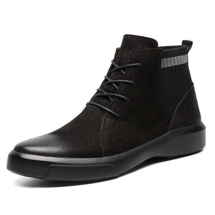 Men Retro Stylish Gradual Change Shoe Toe Casual Leather Ankle Boots