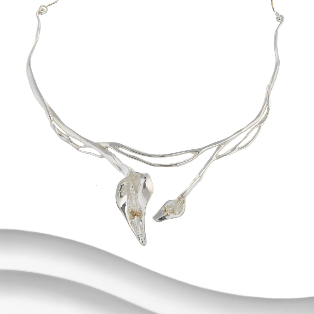 Banyan - Silver Double Lily Necklace