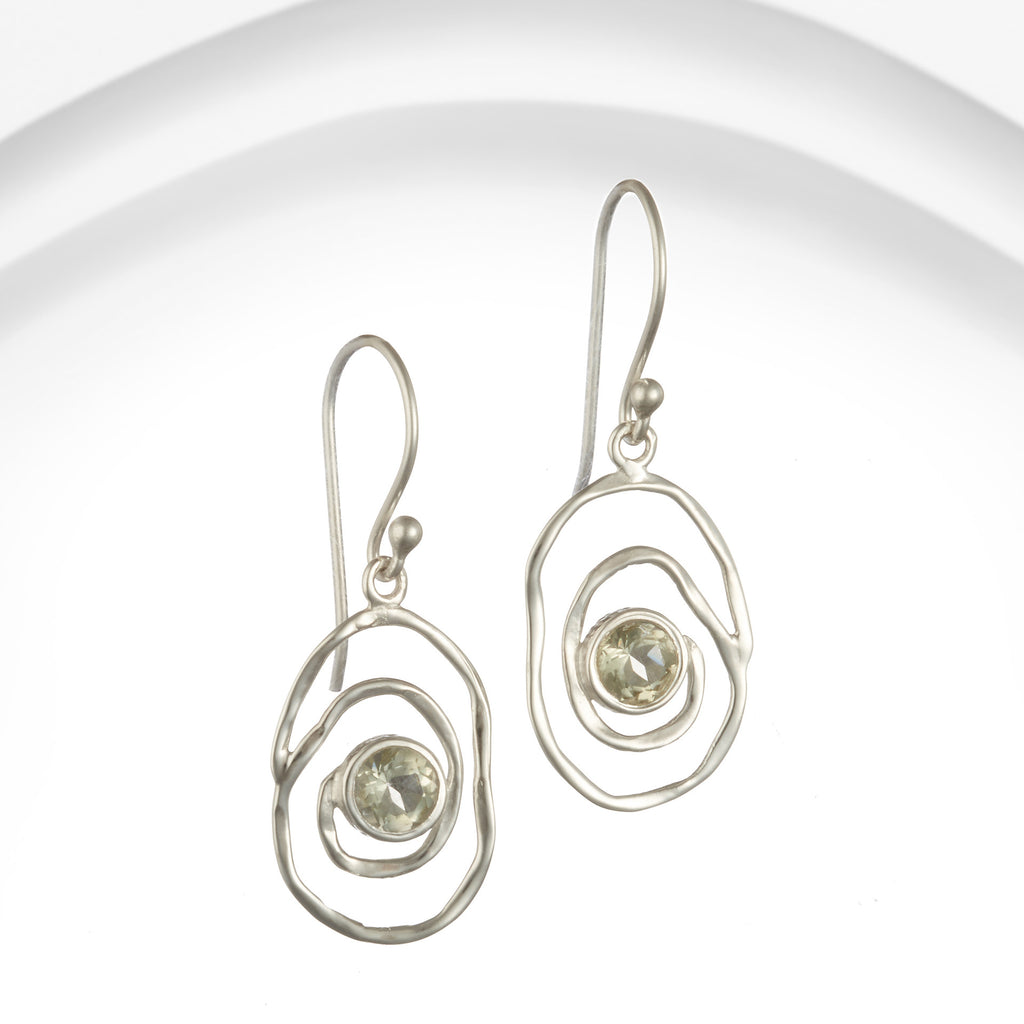 Banyan - Green Amethyst Set, Sterling Silver Irregular Silver Spiral Drop Earrings