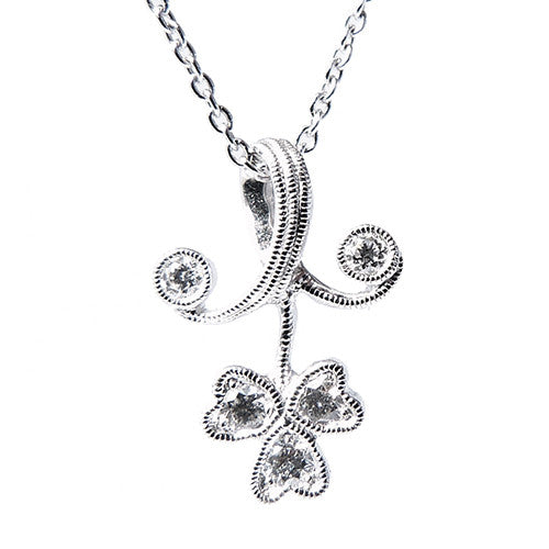 18ct White Gold & Diamond, Small Floral Pendant