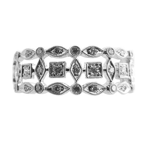 18ct White Gold & Diamond 3 Row Eternity Ring