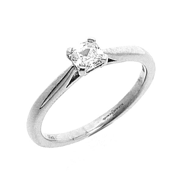 Solitaire Engagement Ring, Princess Cut Diamond Set in 18ct. White Gold