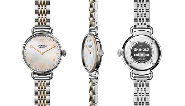 Shinola - Canfield, Stainless Steel and Yellow Gold Plate White Dial, Silver and Yellow Bracelet Watch, Size 32mm