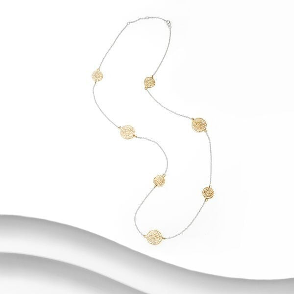 Banyan - Sterling Silver and Yellow Gold Plate Two Tone Filigree Disc Necklace
