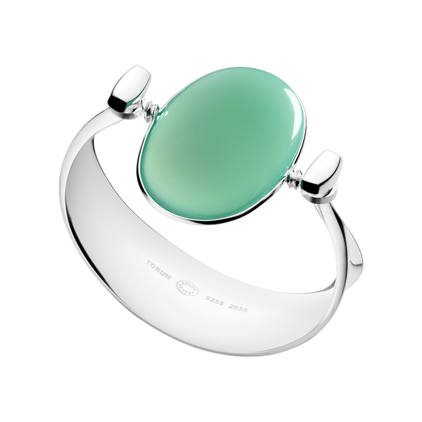 Georg Jensen - 203A, Green Agate Set, Silver and 18ct. White Gold Bangle