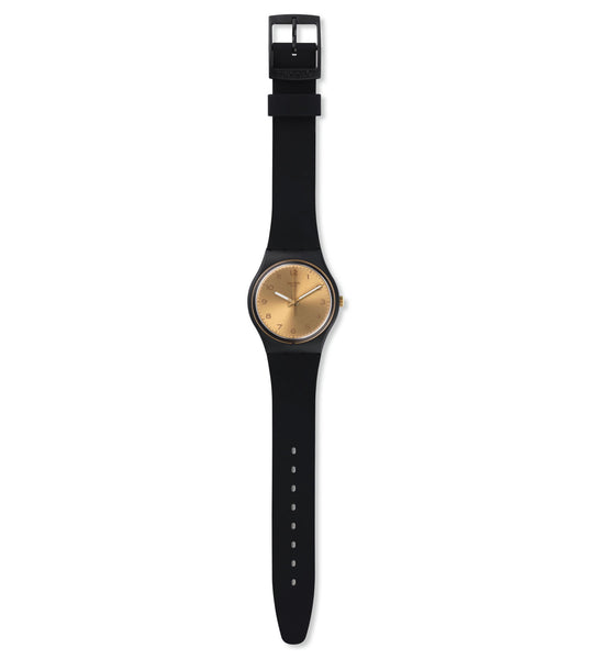 Swatch - Unisex, Black and Gold Watch