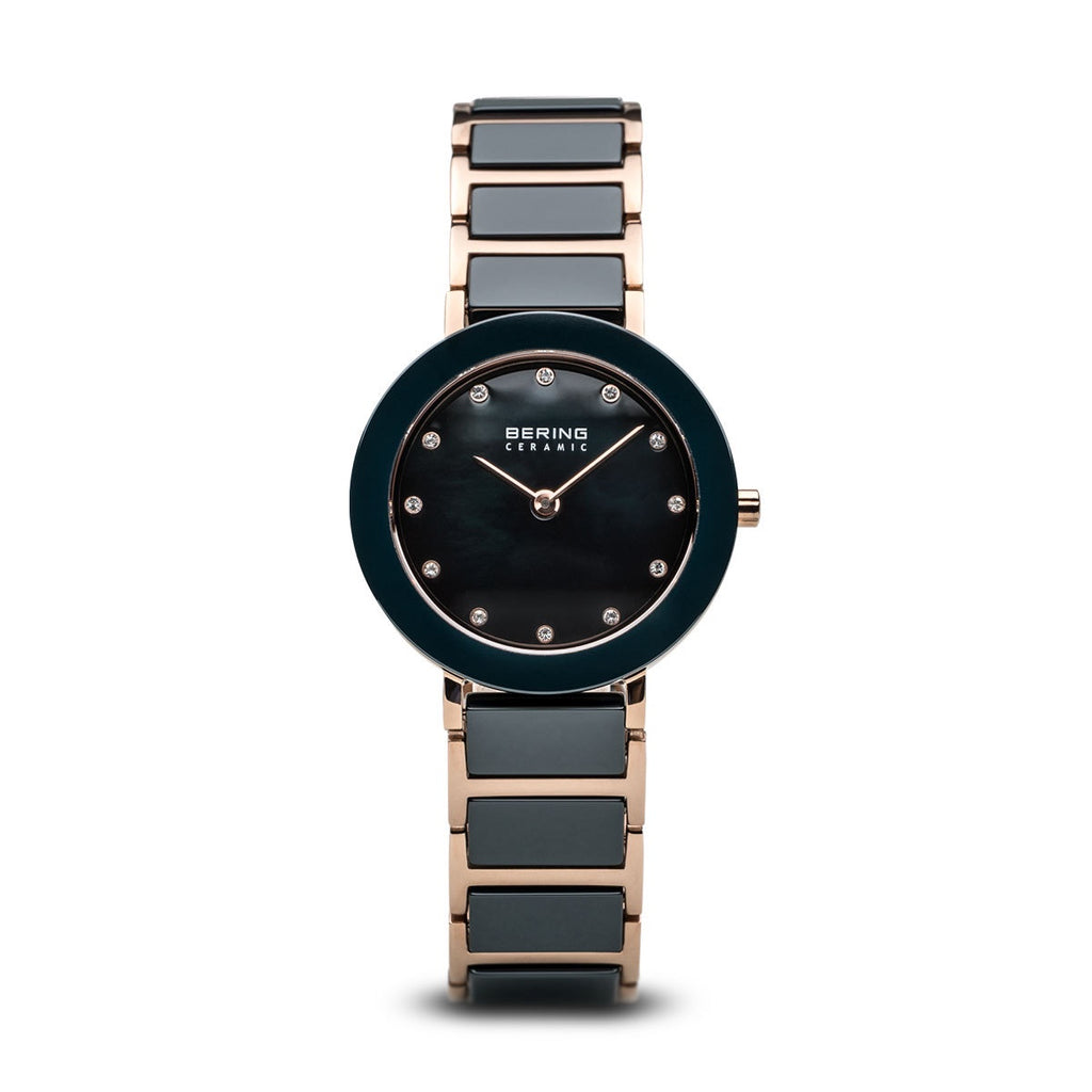 Bering - Ladies Ceramic, Swarovski Crystal Set, Ceramic, Stainless Steel and Rose Gold Plated Watch