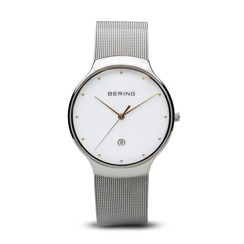 Bering - Unisex Classic, Yellow Gold Plated Stainless Steel Milanese Strap Watch