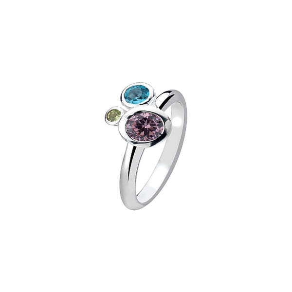Virtue - 3 Coloured Cubic Zirconia Set, Sterling Silver Ring