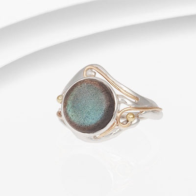 Banyan - Labradorite Set, Silver and Gold Ring, Size O