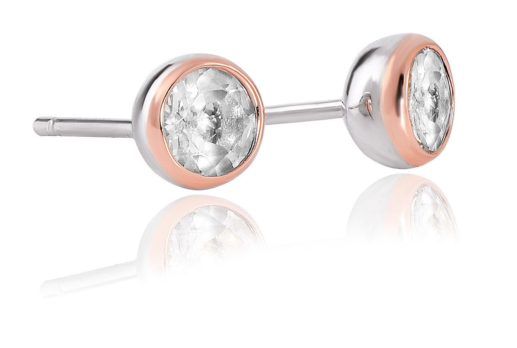 Clogau - Celebration, White Topaz Set, Silver and Welsh Gold Stud Earrings