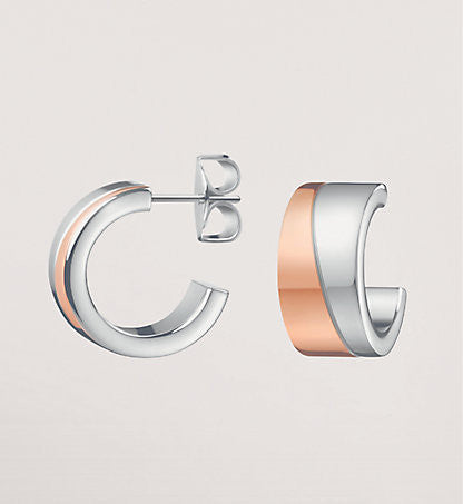 Calvin Klein - Two tone Steel, Rose Gold Plated Hook Earrings
