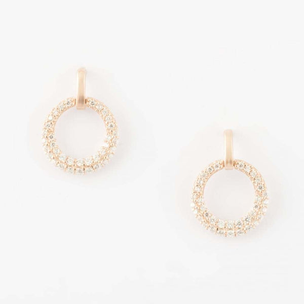 Virtue - Cubic Zirconias Set, Rose Gold Circle, Stud Earrings