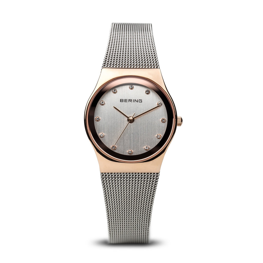 Bering - Ladies Classic, Swarovski Crystal Set, Stainless Steel With Rose Gold Plated Milanese Bracelet Watch