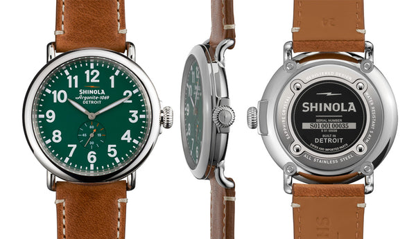 Shinola - Runwell, Stainless Steel Green Dial, Tan Leather Strap Watch, Size 47mm