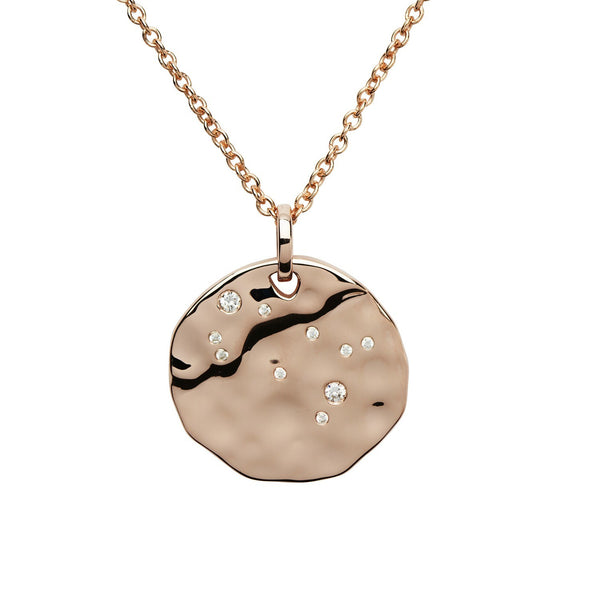 "Unique - Gemini Star Sign, Cubic Zirconia Set, Rose Gold Plated, Sterling Silver 18"" Chain and Pendant"