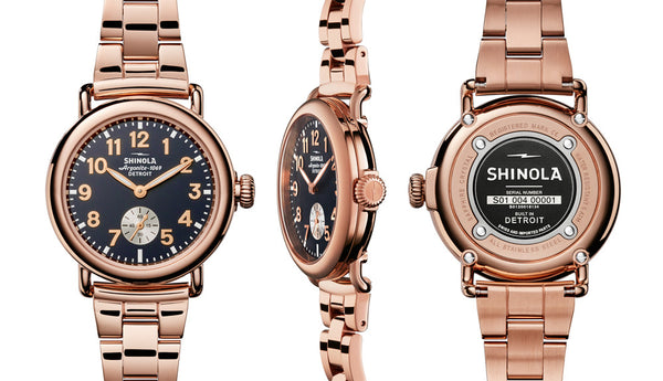 Shinola - Runwell, Stainless Steel and Rose Gold Plate Blue Dial, Rose Bracelet Watch, Size 36mm