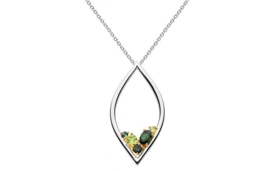 Kit Heath - Noble Serena, Green Tourmaline and Peridot Set, Sterling Silver and 18ct. Yellow Gold Plate Necklace, Size 18""