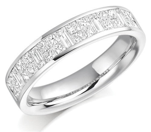 Princess & Baguette Cut Diamond Half Eternity Ring