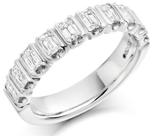 Crisscut Emerald Diamond Half Eternity Ring
