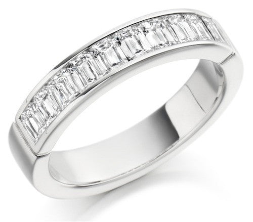 Crisscut Baguette Diamond Half Eternity Ring