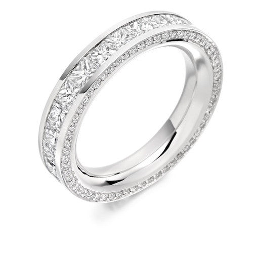 Princess & Round Brilliant Cut Diamond Full Eternity Ring