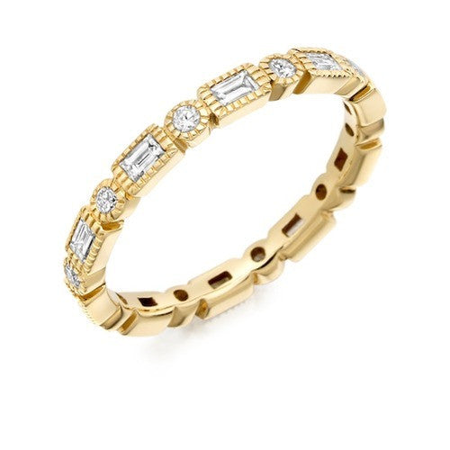 Round & Baguette Cut Diamond Full Eternity Ring