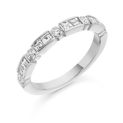 Princess & Round Brilliant Cut Diamond Half Eternity Ring