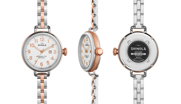 Shinola - Birdy, Stainless Steel with Rose Gold Plating White Dial Watch, Size 34mm