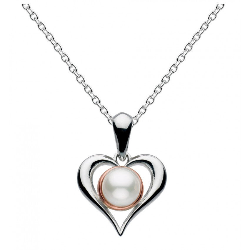 Kit Heath - Amelia, Pearl Set, Sterling Silver and Rose Gold Plate Heart Necklace