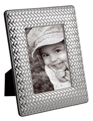 "Carrs Silver - Sterling Silver Basket Weave Frame (7""x5""/18cmx13cm)"