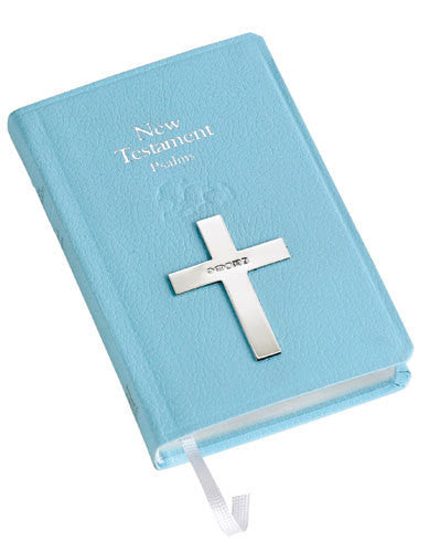 Carrs Silver - Blue New Testament Bible with Sterling Silver Cross